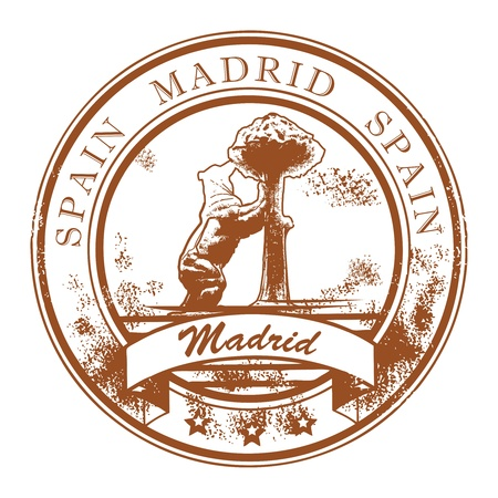 madrid  spain: Grunge rubber stamp with statue of Bear and strawberry tree and the words Madrid, Spain inside