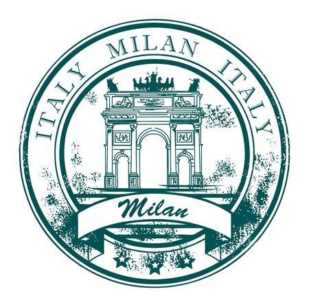 밀라노: 피스 아치와 단어 밀라노, 이탈리아 내부로 grunge 고무 스탬프