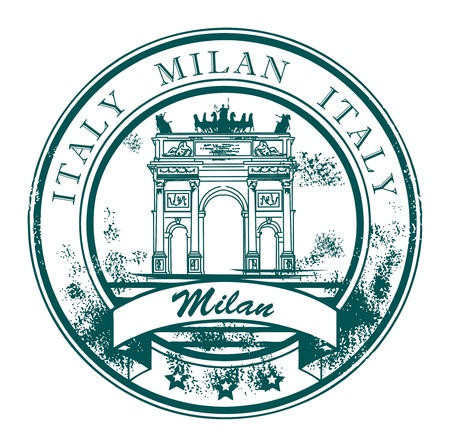 destinations: Grunge rubber stamp with The Peace Arch and the words Milan, Italy inside