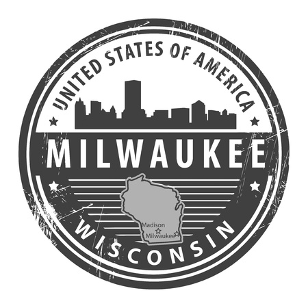 milwaukee: Grunge rubber stamp with name of Wisconsin, Milwaukee Illustration