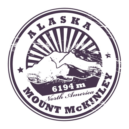Grunge rubber stamp with the Mount McKinley, highest mountain peak in North America