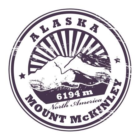 Grunge rubber stempel met de Mount McKinley, de hoogste bergtop in Noord-Amerika Vector Illustratie