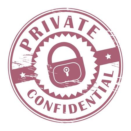 Tampon en caoutchouc grunge avec les mots privé, à l'intérieur Confidential