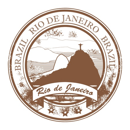 rio: Grunge rubber stamp with the statue of the Christ the Redeemer and text Rio de Janeiro