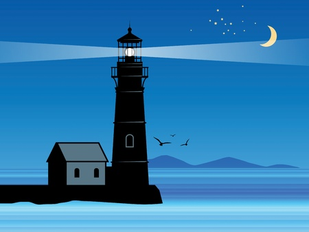 lighthouse beam: Lighthouse silhouette at night Illustration