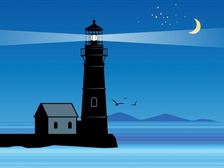 Vuurtoren silhouet in de nacht Vector Illustratie