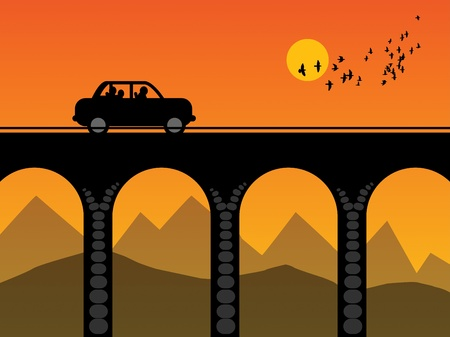 viaduct: Car on the bridge Illustration