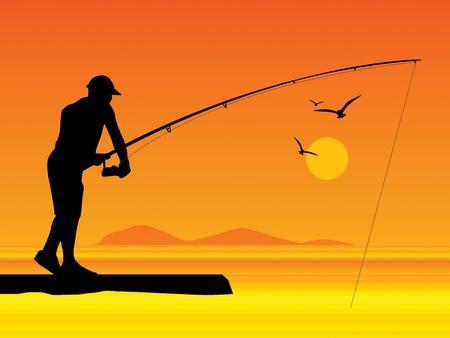 sportfishing: Fisherman silhouette at sunset