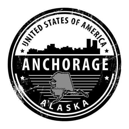 anchorage: Grunge rubber stamp with name of Alaska, Anchorage