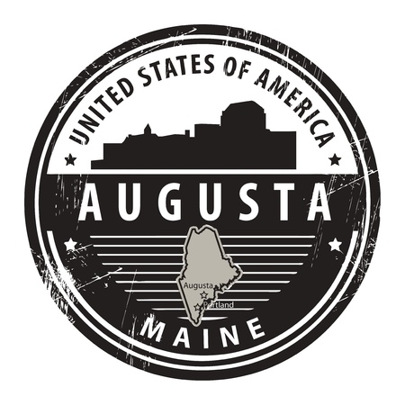 augusta: Grunge rubber stamp with name of Maine, Augusta