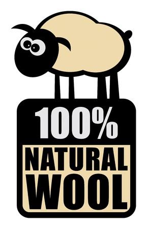Label met kleine schapen en de woorden 100 Natural Wool