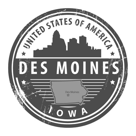 Grunge rubber stamp with name of Iowa, Des Moines Vector