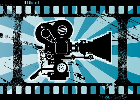Abstract grunge background with movie camera Vector