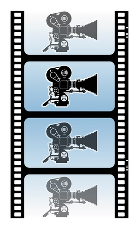 Abstract background with movie camera Vector