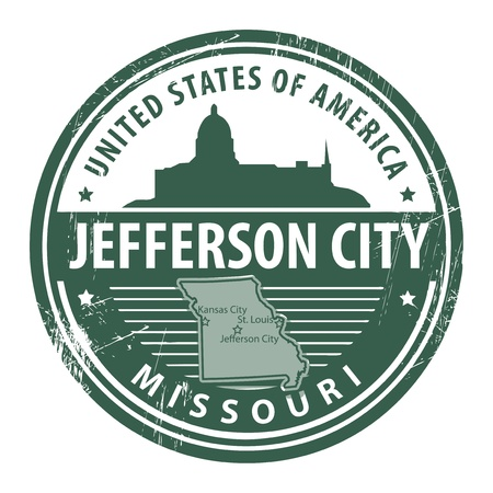 Grunge rubber stamp with name of Missouri, Jefferson City Vector