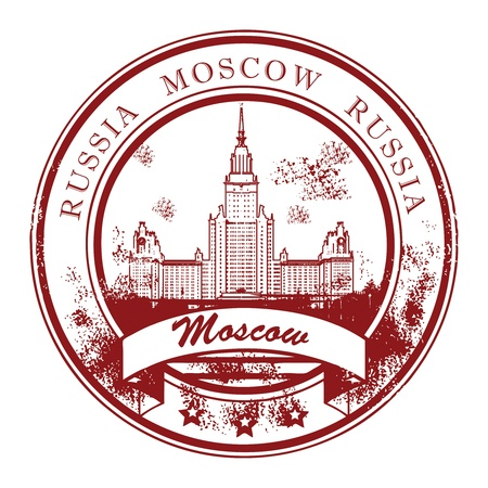 Grunge sello de goma con la Universidad Estatal de Moscú y de Moscú palabras, dentro de Rusia