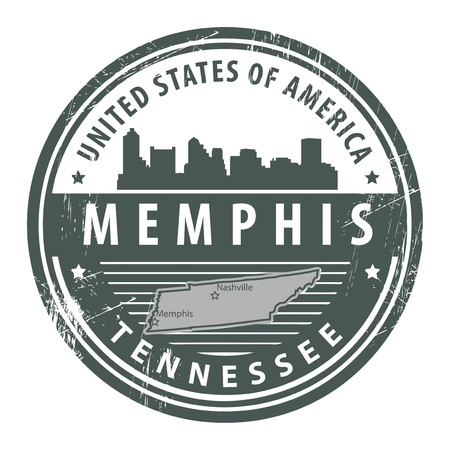 Grunge rubber stamp with name of Tennessee, Memphis