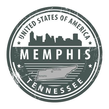 tennesse: Grunge sello de goma con el nombre de Tennessee, Memphis