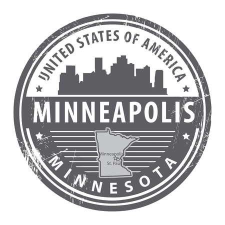 minnesota: Grunge rubber stamp with name of Minnesota, Minneapolis