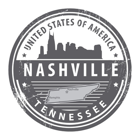 tennessee: Grunge rubber stamp with name of Tennessee, Nashville