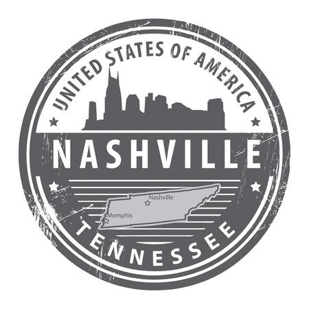 tennesse: Grunge sello de goma con el nombre de Tennessee, Nashville