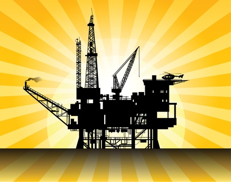 oil exploration: Oil rig in sea and sunrise Illustration