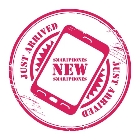 just arrived: Sticker with the mobile phone and words New Smartphones - Just Arrived written inside Illustration