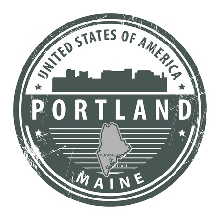 portland: Grunge rubber stamp with name of Maine, Portland