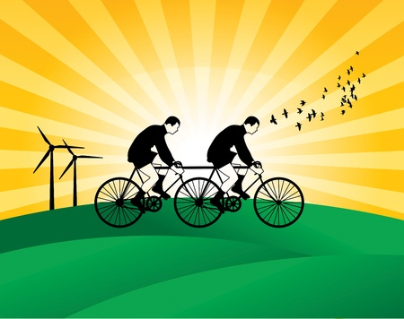 bicycler: Riding a bicycle Illustration