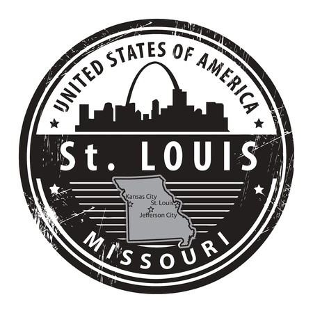 st: Grunge rubber stamp with name of Missouri, St  Louis