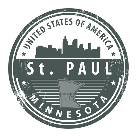 Grunge rubber stamp with name of Minnesota, St  Paul Vector