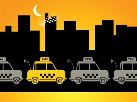 taxi: Taxi fondo urbano Vectores
