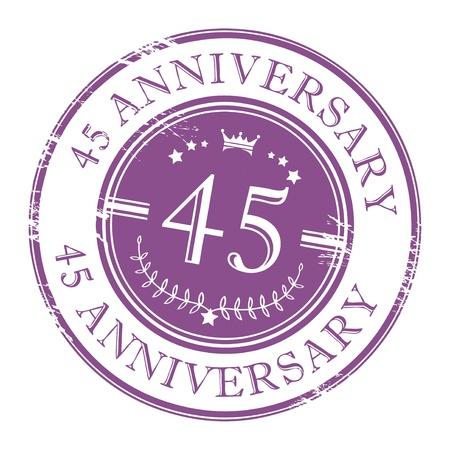 40 45 years: Stamp 45 anniversary Illustration