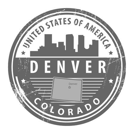 Денвер: Гранж штамп с именем Колорадо, Денвер