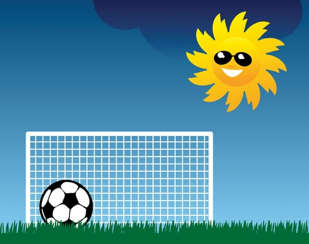 Football on grass field Stock Vector - 15228717