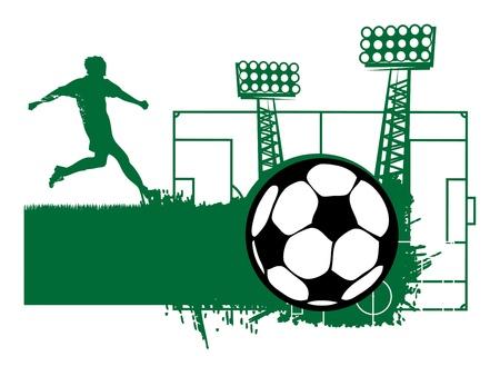 Football ball and player abstract Stock Vector - 15228724