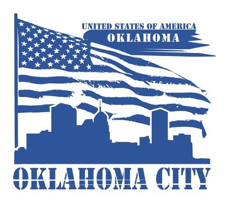oklahoma: Grunge label with name of Oklahoma, Oklahoma City