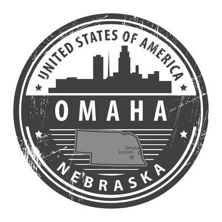 omaha: Grunge rubber stamp with name of Nebraska, Omaha Illustration