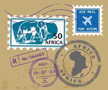timbre postal: Conjunto de s�mbolos �frica colocar sellos Vectores