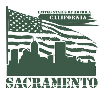 sacramento: Grunge label with name of California, Sacramento