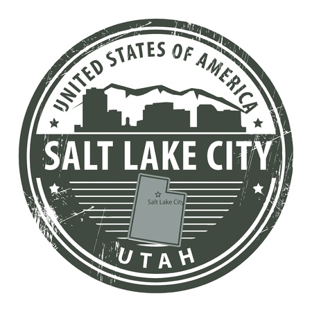 Grunge rubber stamp with name of Utah, Salt Lake Cit