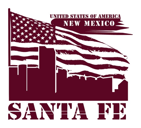 Grunge label with name of New Mexico, Santa Fe Vector