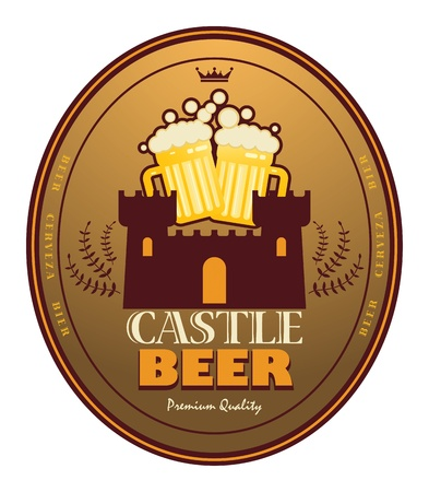 Label with beer mugs and the text Castle Beer written inside Vector