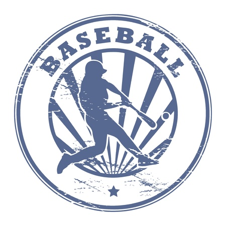baseball game: Grunge stamp with Baseball player silhouette