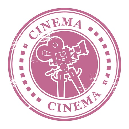 Abstract grunge stamp with movie camera shape and the word cinema written inside Vector