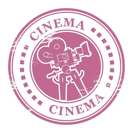 cinematografico: Sello del grunge abstracto con forma de c�mara de pel�cula y el cine palabra escrita dentro