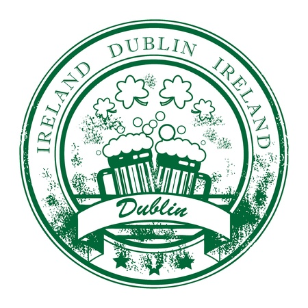 irish beer label: Grunge rubber stamp with beer mugs and the words Dublin, Ireland inside Illustration