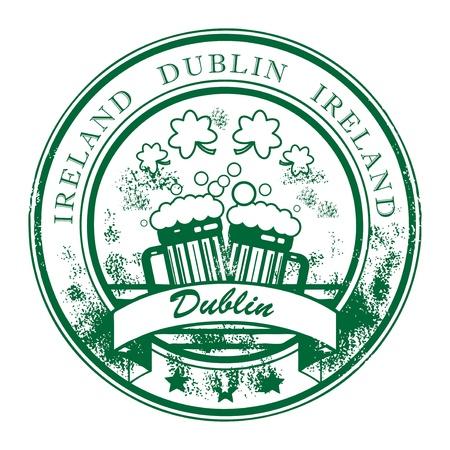 irland: Grunge Stempel mit Bierkr�gen und die Worte Dublin, Irland Inneren