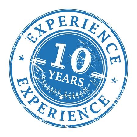 경험: 10 년의 경험 안에 기록 된 텍스트로 grunge 고무 스탬프 일러스트