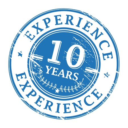 experience: Grunge rubber stamp with the text 10 Years Experience written inside